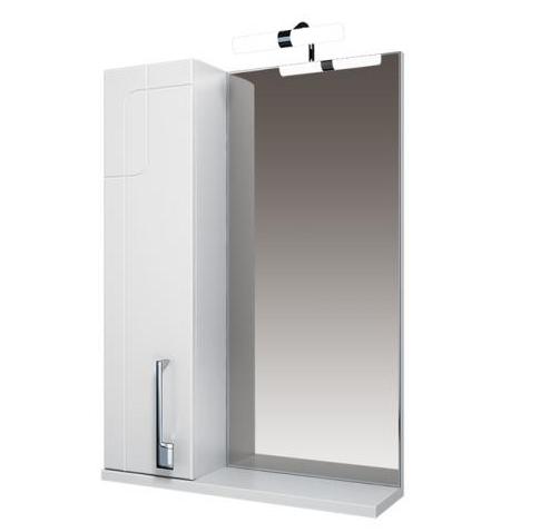 Диана Зеркало 70 бел, подсветка, шкаф с лева
