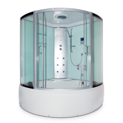 Душевая кабина белые стенки, матовые стекла 150*150 пар+г/м с сенс.пультом в стекле Акрил
