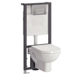 Form 300 Унитаз подвесной + стульчак+ инсталляция +кнопка хром