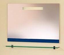 GLASS МА Зеркало 75 см L (азуро) с полкой