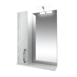 Кристи Зеркало 60 бел, подсветка, шкаф левый