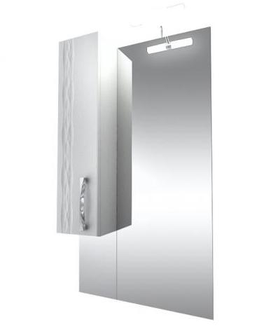 Кристи Зеркало 60 удлиненное бел, подсветка, шкаф левый