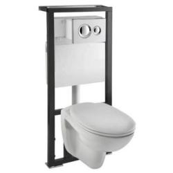 Normus Унитаз подвесной + инсталяция+кнопка гл.хром+сиденье мф