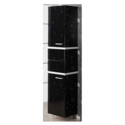 Турин Шкаф-колонна черн. с бел. панелями