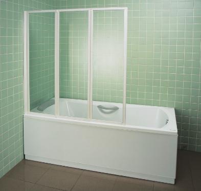 VS2-150 BeHappy Шторка для ванны 150 пластик Раин, профиль сатин
