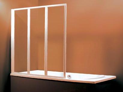 VS3 Шторка для ванны 125 см, пластик Rain профиль белый